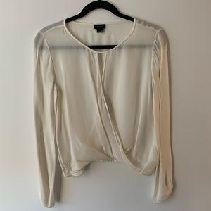 Theory wrap-style silk white blouse